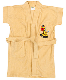 Babyhug Half Sleeves Bathrobe Giraffe Embroidered Patch - Fawn