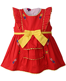 Mini Cupcake Frilly Sleeves Floral Embroidery Frock - Red