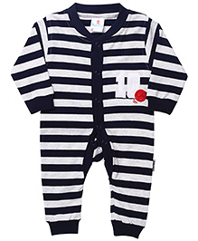 Child World Full Sleeves Stripes Print Romper - Navy