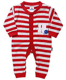 Child World Full Sleeves Stripes Print Romper - Red