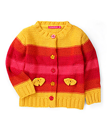 Wingsfield Full Sleeves Sweater Bow Applique - Yellow And Pink