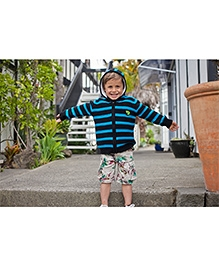 Pinehill French Rib Hoodie Sweater - Black And Turquoise Blue