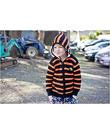 Pinehill French Rib Hoodie Sweater - Black And Orange