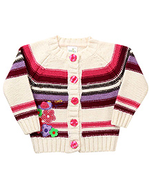 Babyhug Front Open Sweater Floral Patch - Off White And Pink