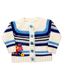 Babyhug Front Open Sweater Floral Patch - Off White And Blue