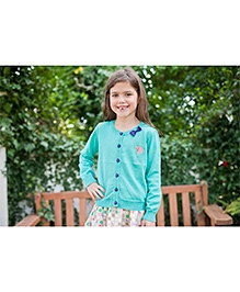 Pinehill Round Neck Cardigan With Bow - Turquoise