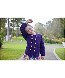 Pinehill Cable Knit Hooded Sweater - Grape Purple