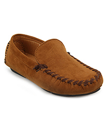 Doink Suede Leather Loafers Slip On - Brown