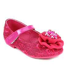 Doink Belly Shoes With Floral And Pearl Detail - Fuchsia Pink