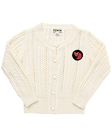 Pinehill Pointelle Knit Full Sleeves Cardigan - Off White