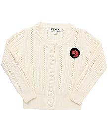 Pinehill Pointelle Knit Full Sleeves Cardigan - Off White