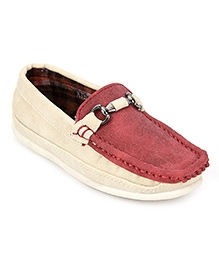 Kittens Slip On Loafer Shoes - Maroon And Cream