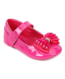 Kittens Bow Belly Shoes Velcro Closure - Pink