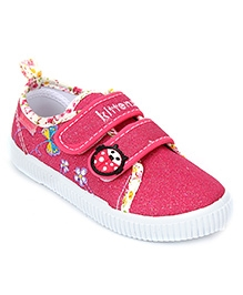 Kittens Floral Canvas Sneakers Velcro Closure - Pink