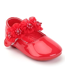 Kittens Ballerina Party Shoes Floral Applique - Red