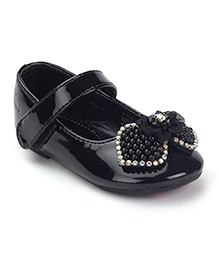 Kittens Bow Belly Shoes Velcro Closure - Black