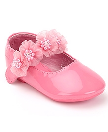 Kittens Ballerina Party Shoes Floral Applique - Pink