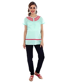 Nine Short Sleeves Maternity Blouse Lace Detail - Mint Green