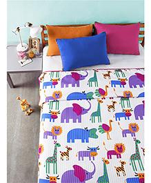 Bliss Micro Stripe Single Digital Dohar Zoo Print - Multicolor