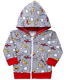 Babyhug Full Sleeve Hooded Sweat Jacket - Grey & Red