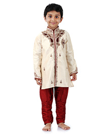 Babyhug Embroidered Kurta And Jodhpuri Breeches - White And Maroon