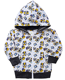 Babyhug Full Sleeve Hooded Sweat Jacket - Grey & White