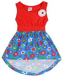 Babyhug Sleeveless Frock With Flower Applique - Red And Blue
