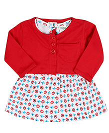 Babyhug Sleeveless Frock With Full Sleeves Shrug - Red White
