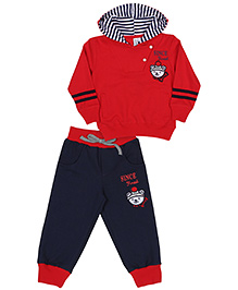 Mickey Hooded T-Shirt And Pant Set - Red And Navy
