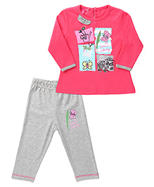 Mickey Full Sleeves Top And Pant Set Butterfly Print - Pink And Grey