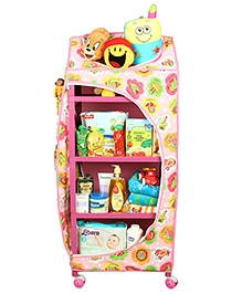 Mothertouch Dx Storage Unit With Wheels Alphabet Print - Pink