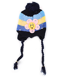 Babyhug Tie Knot Flower Applique Cap - Blue