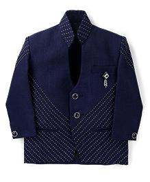 Babyhug Party Blazer Stitch Design - Navy Blue