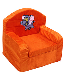 Luvely We Play Kids Sofa Chair Elephant Embroidery - Orange And Grey