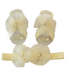 Tiny Closet Net Headband & Barefoot Sandals - Cream
