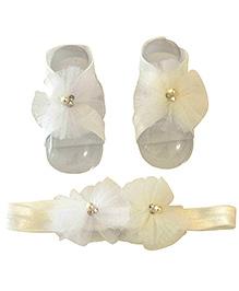 Tiny Closet Net Headband & Barefoot Sandals - White