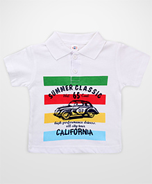 Teddy Half Sleeves T-Shirt Summer Classic Print - White Green