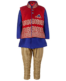 Babyhug Kurta And Jodhpuri Breeches With Jacket - Dark Blue And Red