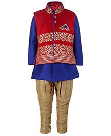 Babyhug Kurta And Jodhpuri Breeches With Jacket - Dark Blue And Red