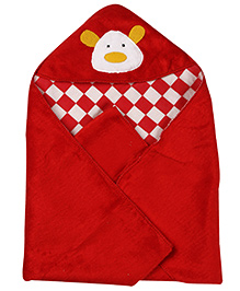 Babyhug Teddy 2 Ply Hooded Checks Blanket - White And Red