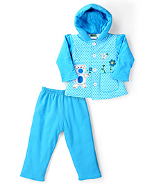 Babyhug Hooded Jacket And Pant Set Teddy And Floral Embroidery - Blue