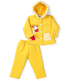Babyhug Hooded Jacket And Pant Set With Giraffe Patch - Yellow