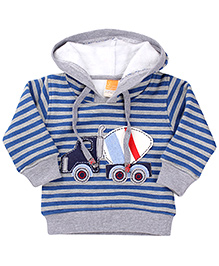 Little Kangaroo Hooded Sweatshirt Stripes Pattern - Blue And Grey