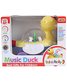 Duck Shape Pull Along Musical Toy - Yellow White