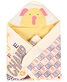 Babyhug Hooded Quilted Wrapper Teddy Patch - Yellow