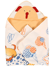 Babyhug Hooded Quilted Wrapper Teddy Patch - Peach & Red