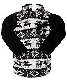 Little Kangaroos Full Sleeves Sweater Applique - Black