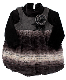Little Kangaroos Frock With Inner Top Floral Applique - Black Grey