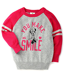 Fox Baby Full Sleeves Sweater Minnie Mouse Print - Pink Grey