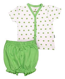 bio kid Half Sleeves Printed Top And Bloomer - White Green